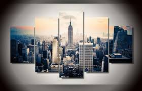 new york city canvas.  Canvas 5 Pieces Canvas Prints New York City Vintage Painting Wall Art Home Decor  Panels Poster For On