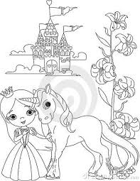 Cute unicorn coloring pages for kids: Beautiful Princess And Unicorn Coloring Page By Anna Velichkovsky Via Dreamstime Unicorn Coloring Pages Fairy Coloring Pages Fairy Coloring