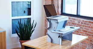 spark desk start standing now desk cardboard perfect starter entry level first standing desk twenty dollars