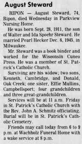 Obituary for August Steward (Aged 74) - Newspapers.com
