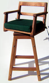 redwood captain chair bar stool wooden stools with seat cushion wood arms and swivel options