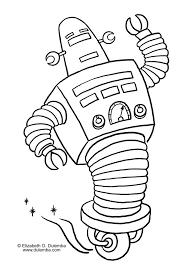 Coloriage Robot à Roulette Et Dessin