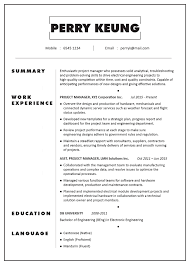Sample It Project Manager Resumes Cv Sample Project Manager Electronic Electrical