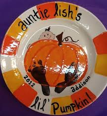 check out this super cute pumpkin plate painted themadpotter houston by one pottery painting ideaspottery ideasplate