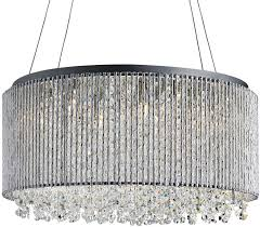 beatrix 8 light polished chrome drum ceiling pendant crystal drops