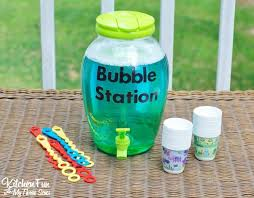 diy bubble refill station with homemade bubbles recipe from kitchenfunwithmy3sons com
