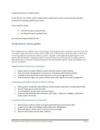Sample Performance Reviews Phrases In This File You Can Ref Free ...