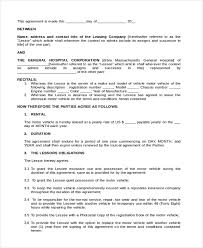 Purchase Agreement Samples Vehicle Lease Purchase Agreement Form Vehicle Lease Agreement