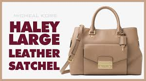 michael kors haley large leather satchel