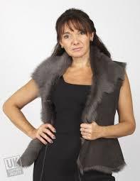 women s grey toscana sheepskin gilet plus size lining