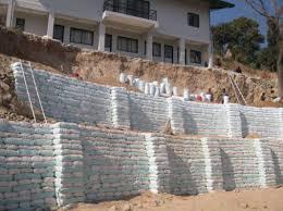 earth bag retaining wall in binayak