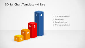 3d Bar Chart Template Design For Powerpoint With 4 Bars