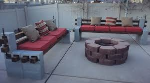 cinderblock furniture. Diy We Built Outdoor Benches And A Firepit For Cozy Backyard Pertaining To Cinder Block Cinderblock Furniture