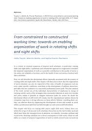 Pdf From Constrained To Constructed Working Time Toward An