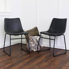 walker edison furniture company wasatch black faux leather dining chair set of 2