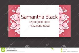 Paper Flower Business Gentle Vector Business Card Templates With Paper Flowers Stock