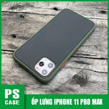 Ốp lưng chống sốc dành cho iPhone 11 Pro Max nút bấm màu cam - Màu xanh -  PS Case Phân Phối