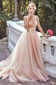 pink wedding gowns. Pink wedding dress for the bride PopFashionTrends