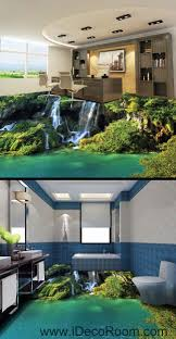 Kitchen Wall Mural Waterfall Cliff Green Mountain 00096 Floor Decals 3d Wallpaper