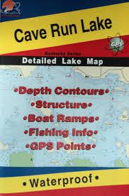 Cave Run Lake Detailed Fishing Map Gps Points Waterproof L442