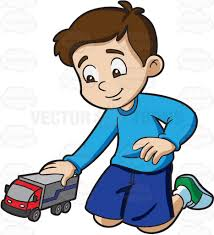 playing cartoon a young boy playing with his toy truck cartoon clipart vector toons