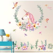 cartoon wall sticker unicorn flower birds removable pvc wall decals home decor sticker mordern art mural living room room wall stickers roommates stickers
