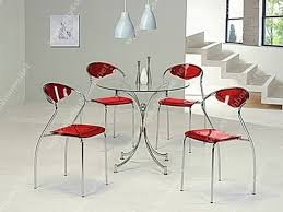 round glass dining table with silver steel legs combined red interior plastic chairs placed the white