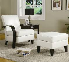 white bonded leather arm accent chairs with ottoman