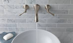 wall mount faucet. A Faucet With Classic Curves Would Read Traditional, But Shift That To The Wall And Place Clean White Bowl Beneath It You Move Space Mount F