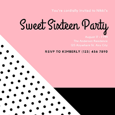 Pink Black And White Sweet 16 Birthday Invitation