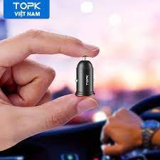 Tẩu sạc xe hơi mini TOPK G204 hai cổng USB, 3.1A sạc nhanh cho điện thoại, máy  tính bảng - Hàng nhập khẩu chính hãng - Adapter sạc - Củ sạc xe