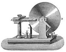 built in 1831 the faraday disk was the first electric generator the horseshoe shaped magnet a created a magnetic field through the disk d