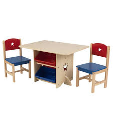 star table chair set with primary toy bins