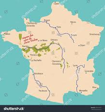 map wine region loire valley france stock vector