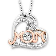 diamonds in rhythm mom heart necklace sterling silver 10k gold tap to expand