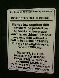 Vending Machine Sign Delectable Florida Food And Beverage Vending Machine Mandatory Sign For