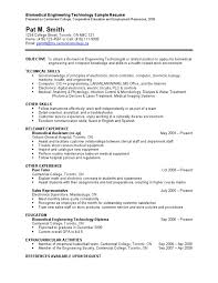 Biomedical Engineering Technology Sample Resume | Biomedical Engineering |  Engineering