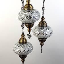 Oosterse Hanglamp Mozaïek 3 Bollen Wit Design H110cm Patipada