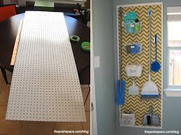 cleaning tools and supplies pegboard