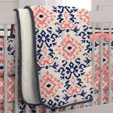 Crib Comforters | Baby Quilts | Carousel Designs & $99.00; Navy and Coral Ikat Crib Comforter Adamdwight.com
