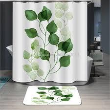 green leaves fashion bathroom decora waterproof polyester fabric bathroom shower curtain entrance door mat 12