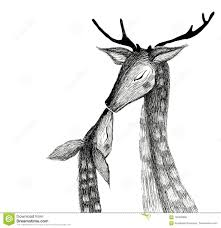 Pencil Drawing Of A Pair Of Deer On A Watercolor Background