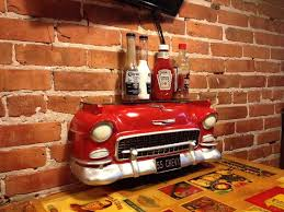 the stone soup company bar and grill table decoration front of 57 chevy