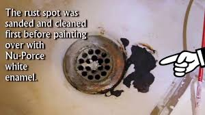 Painting A Porcelain Sink Fix Bath Tub Rust Spots With Waterproof Ceramic Paint Youtube