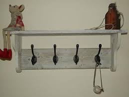 Rustic Coat Rack With Shelf Shabby Chic Reclaimed wood Coat and hat Rack with shelf Rustic White 52