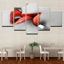 canvas wall art pictures hd prints living room home decor 5 pieces woman red lipstick paintings on red lipstick wall art with canvas wall art pictures hd prints living room home decor 5 pieces