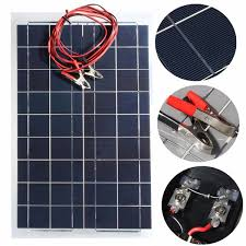 12v 30w polycrystalline solar panel with 4m alligator clip wire diy solar cells battery charger banggood com sold out
