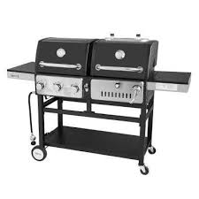 3 burners propane gas grill and charcoal combo grill in black with 2 side tables