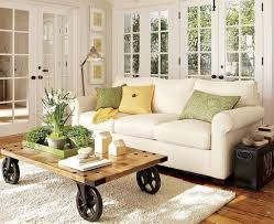 Decorations : Small White Sofa Living Room Furniture Ideas For Apartments  Plus Wooden Plank Coffee Table Decor Plus White Carpet Designs Then Barn  Wood ...