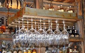 rustic metalic wine glass hanging